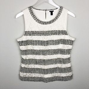 J Crew Fringey Top In Tweed And Lace Ivory